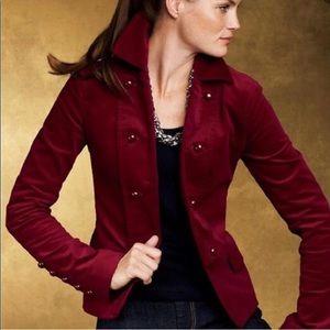 Talbots red / wine double breasted velvet blazer